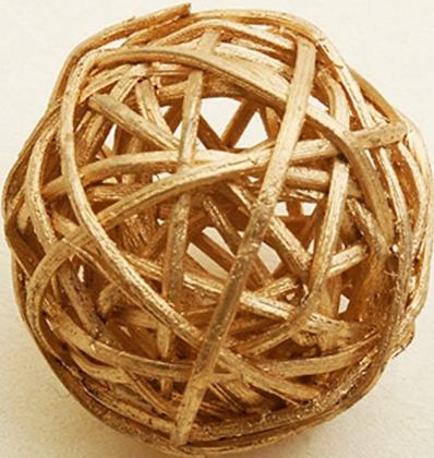 6 Boules en osier doré 3,5 cm