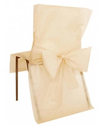 10 Housses de chaise ivoire 50 x 95 cm
