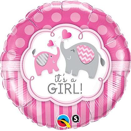 Ballon Aluminium 18″ It's A Girl Elephants – Qualatex