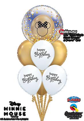 "Ballons LUXURY Bulle ""Minnie Gold Birthday"""