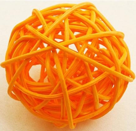 6 Boules en osier orange 3,5 cm