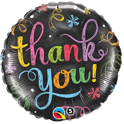 Ballon Aluminium 18″ Thank You Chalkboard – Qualatex