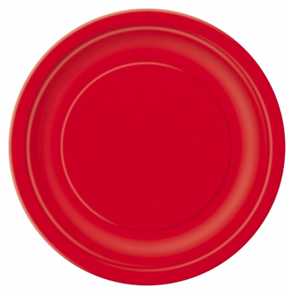 16 assiettes en carton rouge 23 cm