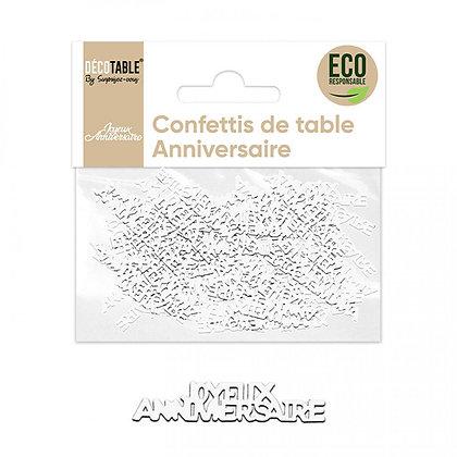 Confettis ANNIVERSAIRE papier Blanc