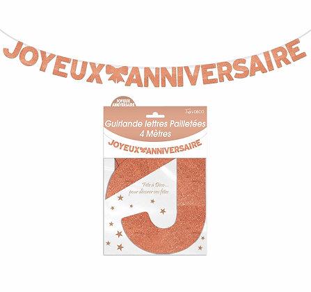 Guirlande Lettres pailletées Joyeux Anniversaire Cuivre