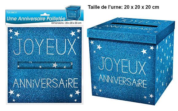 Urne Joyeux Anniversaire Paillette Bleu