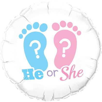 Ballon Alluminium 18″ He Or She? Footprints – Qualatex