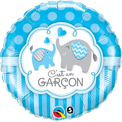 Ballon Aluminium 18″ C'est Un Garçon Elephants – Qualatex