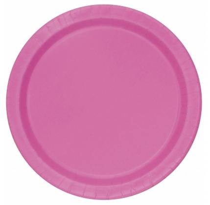 16 assiettes en carton rose 23 cm