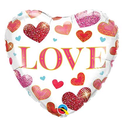 Ballon Aluminium 18″ Love Jewel Hearts – Qualatex