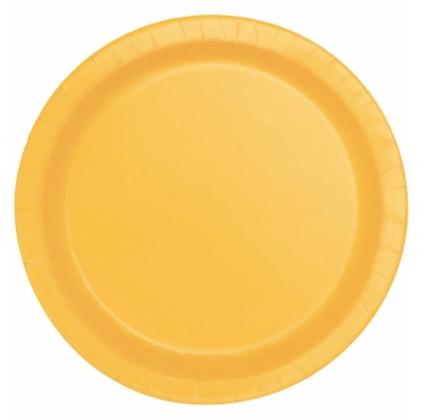 16 assiettes en carton jaune tournesol 23 cm