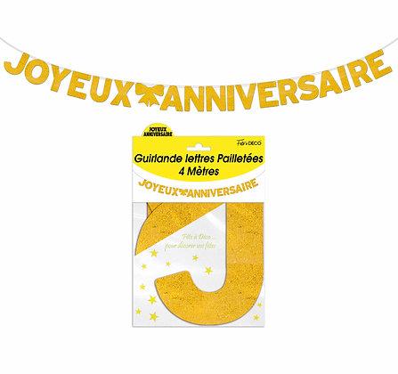 Guirlande Lettres pailletées Joyeux Anniversaire Jaune
