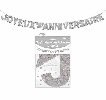 Guirlande Lettres pailletées Joyeux Anniversaire Gris