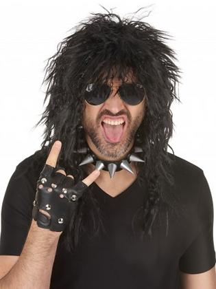 Perruque noire hard rockeur homme