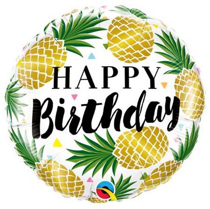 "Ballon Aluminium 18"" Birthday Golden Pineapples - Qualatex"