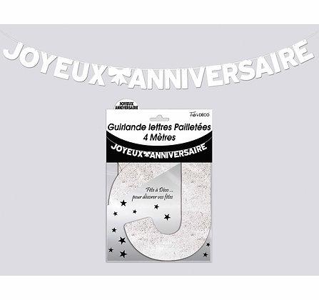 Guirlande Lettres pailletées Joyeux Anniversaire Blanc