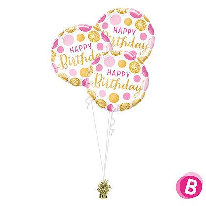 Bouquet Trio Happy Birthday Pink Gold Dots