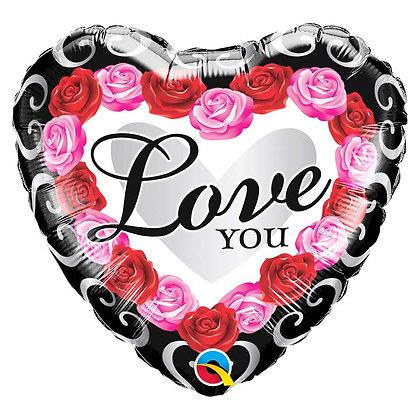 Ballon Aluminium 18″ Love You Red Rose Frame – Qualatex