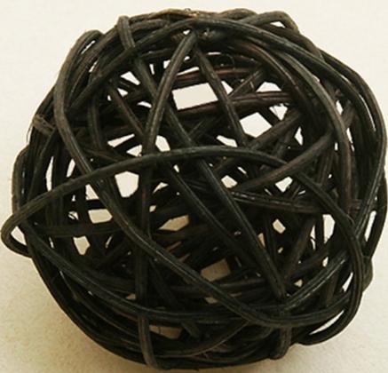 6 Boules en osier noir 3,5 cm