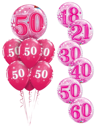 Ballons LUXURY Bubble Birthday Sparkle Pink