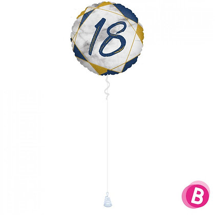 Ballon Anniversaire Bleu et Or