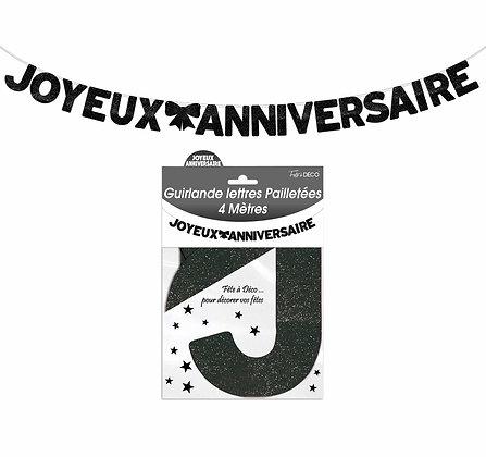 Guirlande Lettres pailletées Joyeux Anniversaire Noir