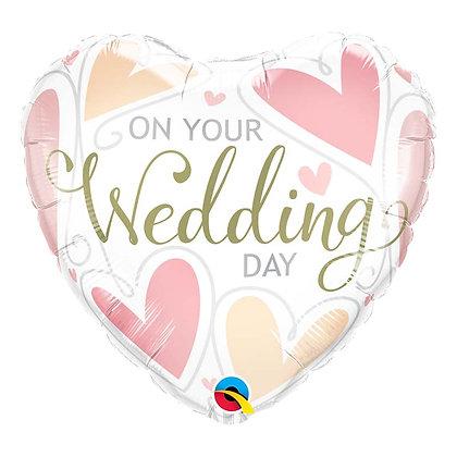Ballon Aluminium 18″ On Your Wedding Day Hearts – Qualatex