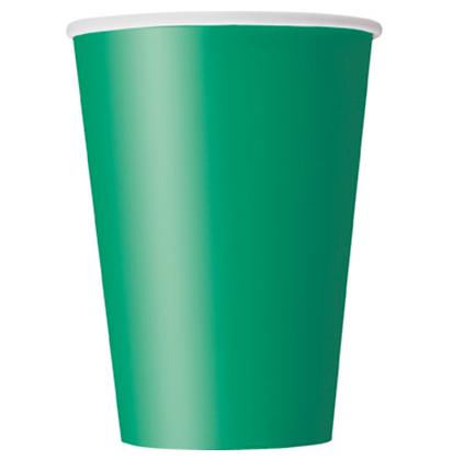 10 Gobelets en carton vert émeraude 355 ml