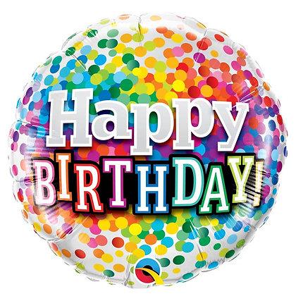 Ballon Aluminium 18″ Birthday Rainbow Confetti – Qualatex