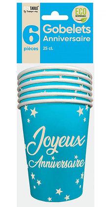 Gobelets x6 Anniversaire 25cl Bleu