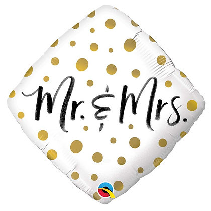 Ballon Aluminium 18″ Mr. & Mrs. Gold Dots – Qualatex
