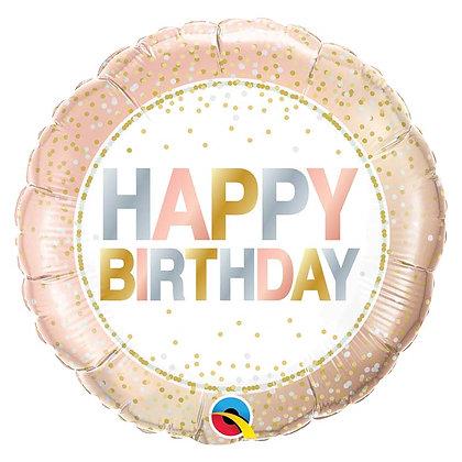 Ballon Aluminium 18″ Birthday Metallic Dots – Qualatex