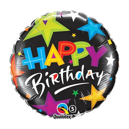 Ballon Aluminium 18″ Birthday Brillant Stars Black – Qualatex