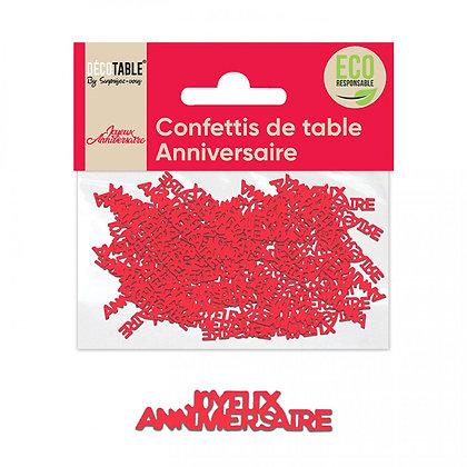 Confettis ANNIVERSAIRE papier Rouge