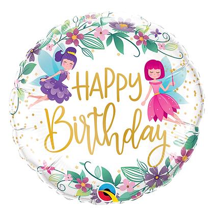 Ballon 18″ Birthday Wild Flower Fairies – Qualatex