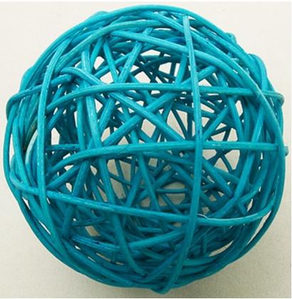 2 Boules en osier bleu turquoise 6 cm