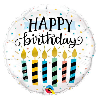 "Ballon Aluminium 18"" Birthday Candles & Dots - Qualatex"