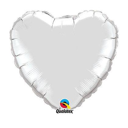 Ballon Coeur 18″ Argent – Qualatex