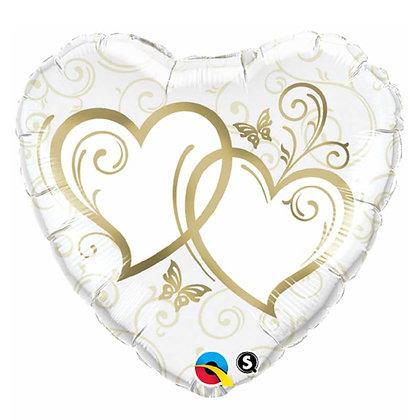 Ballon Aluminium 18″ Entwined Hearts Gold – Qualatex