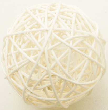 6 Boules en osier ivoir 3,5 cm