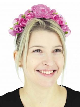 Serre-tête fleurs rose adulte