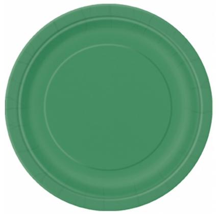 16 assiettes en carton vert émeraude 23 cm