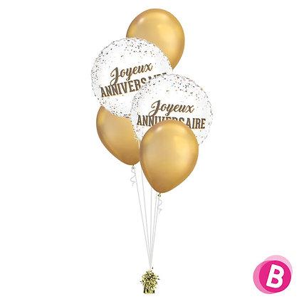Bouquet déco Joyeux Anniversaire Dots Chrome Gold