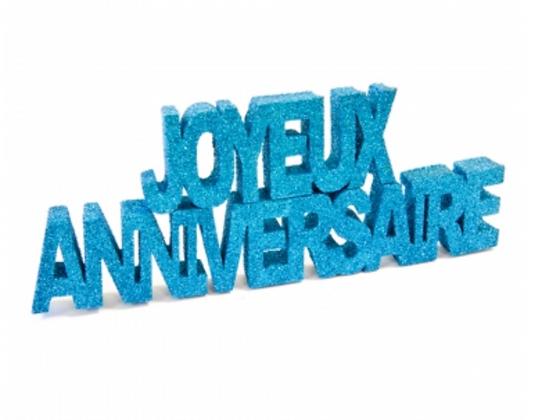 Décoration table Joyeux Anniversaire bleu