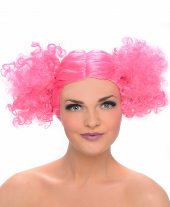 Perruque couettes ronde rose femme