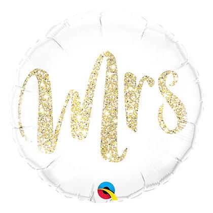 Ballon Aluminium 18″ Mrs. Glitter Gold – Qualatex