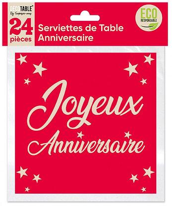 Serviettes de table Anniversaire x24 Rouge