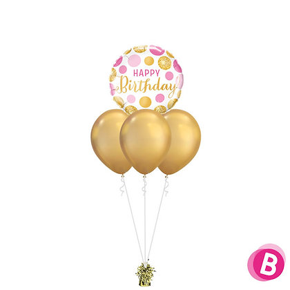 Bouquet Layer Happy Birthday Pink Gold Dots