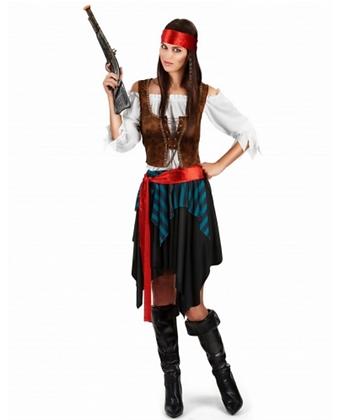 Déguisement pirate rayé bleu et noir femme