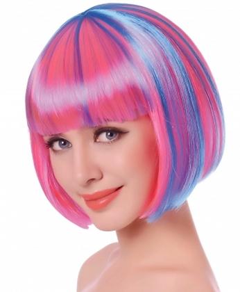 Perruque courte méchée rose et bleu femme